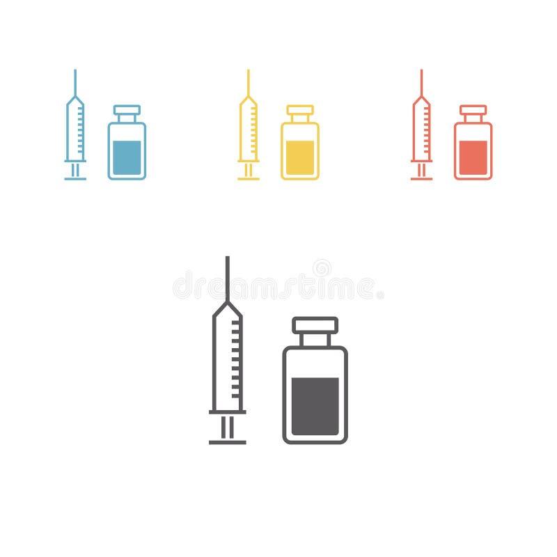 εμβόλιο Εικονίδιο γραμμών διάνυσμα απεικόνιση αποθεμάτων