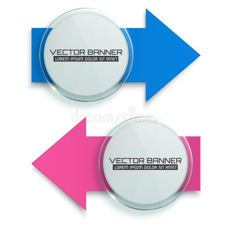 Εμβλήματα βελών Κύκλος γυαλιού με τα ζωηρόχρωμα σημάδια Πρότυπο Infographic διάνυσμα απεικόνιση αποθεμάτων