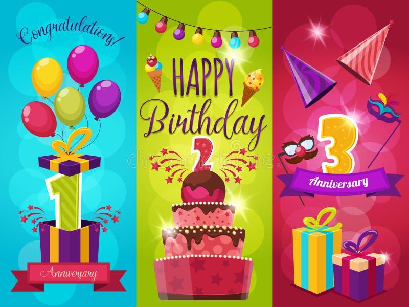Εμβλήματα γιορτής γενεθλίων καθορισμένα ελεύθερη απεικόνιση δικαιώματος