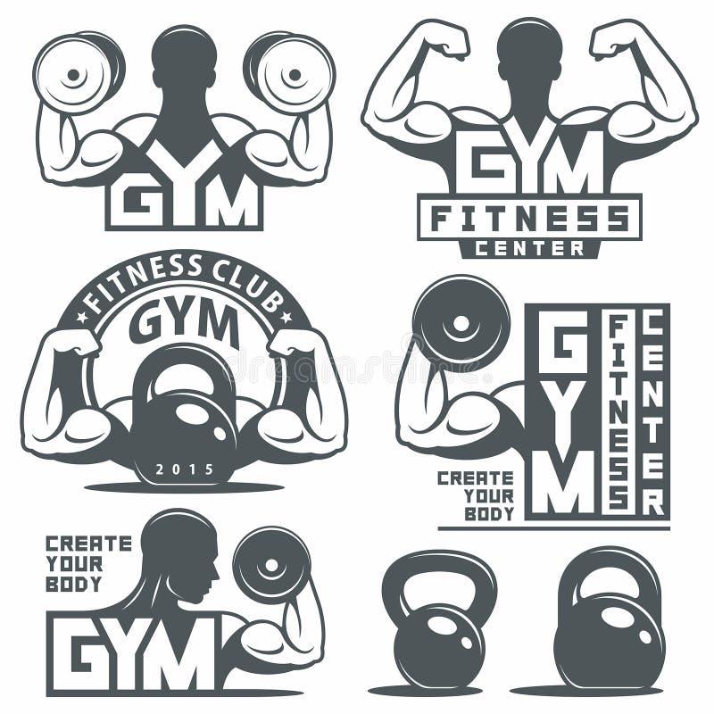 Εμβλήματα γυμναστικής και ικανότητας ελεύθερη απεικόνιση δικαιώματος