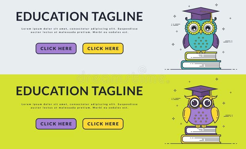 Εμβλήματα Ιστού εκπαίδευσης με την έξυπνη κουκουβάγια απεικόνιση αποθεμάτων