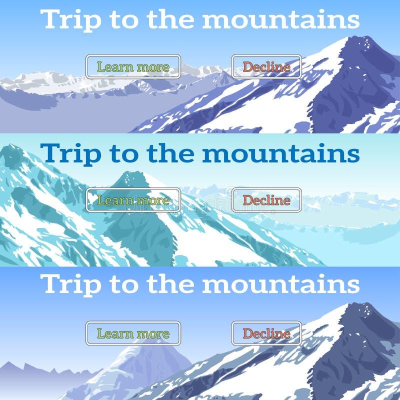 Εμβλήματα Ιστού που τίθενται στο θέμα των βουνών, περιπέτειες, τουρισμός απεικόνιση αποθεμάτων