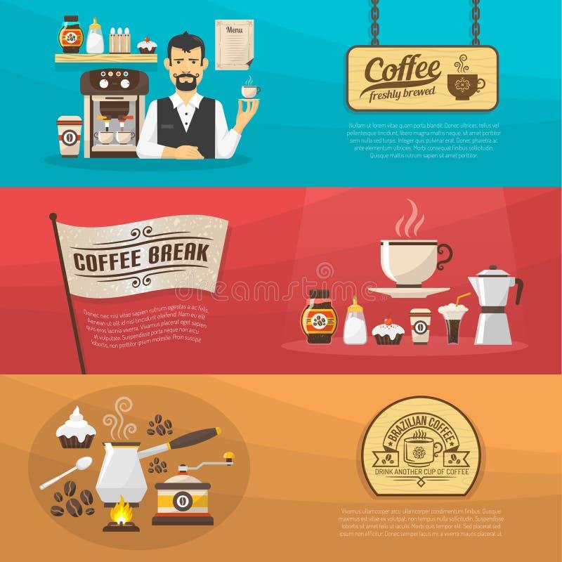 Εμβλήματα καφέ διανυσματική απεικόνιση