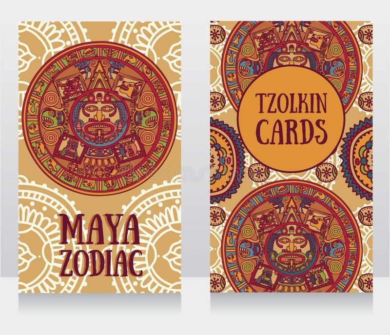Εμβλήματα με διακοσμητικό των Μάγια zodiac διανυσματική απεικόνιση
