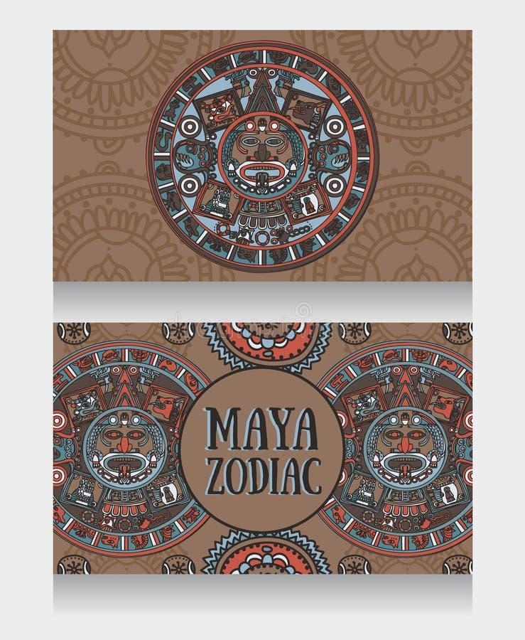 Εμβλήματα με διακοσμητικό των Μάγια zodiac ελεύθερη απεικόνιση δικαιώματος