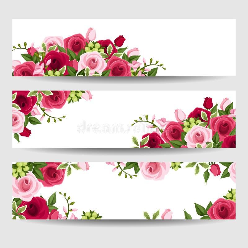 Εμβλήματα με τα κόκκινα και ρόδινα τριαντάφυλλα και λουλούδια freesia επίσης corel σύρετε το διάνυσμα απεικόνισης ελεύθερη απεικόνιση δικαιώματος
