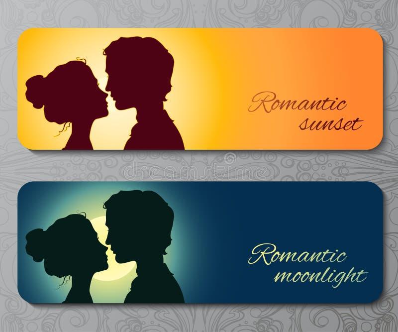 Εμβλήματα με τις σκιαγραφίες του φιλήματος του ζεύγους διανυσματική απεικόνιση