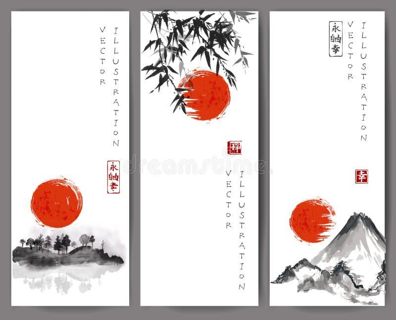 Εμβλήματα με τον κόκκινους ήλιο, το μπαμπού, τα βουνά και το νησί ελεύθερη απεικόνιση δικαιώματος