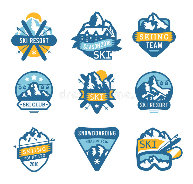 Εμβλήματα λογότυπων χιονοδρομικών κέντρων, διάνυσμα διακριτικών ετικετών απεικόνιση αποθεμάτων