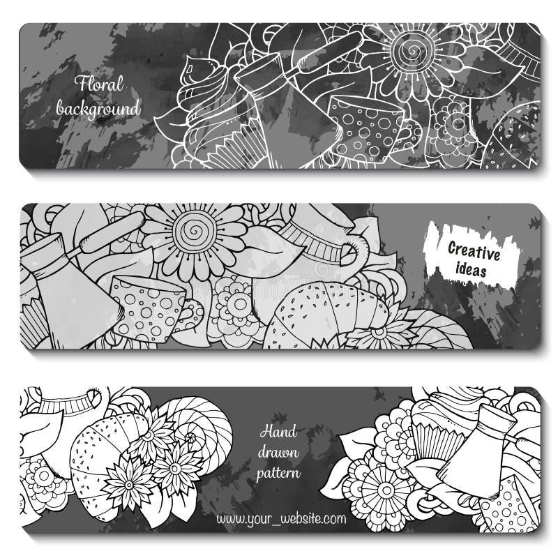 Εμβλήματα προγευμάτων Συρμένο χέρι σχέδιο τσαγιού και καφέ ελεύθερη απεικόνιση δικαιώματος