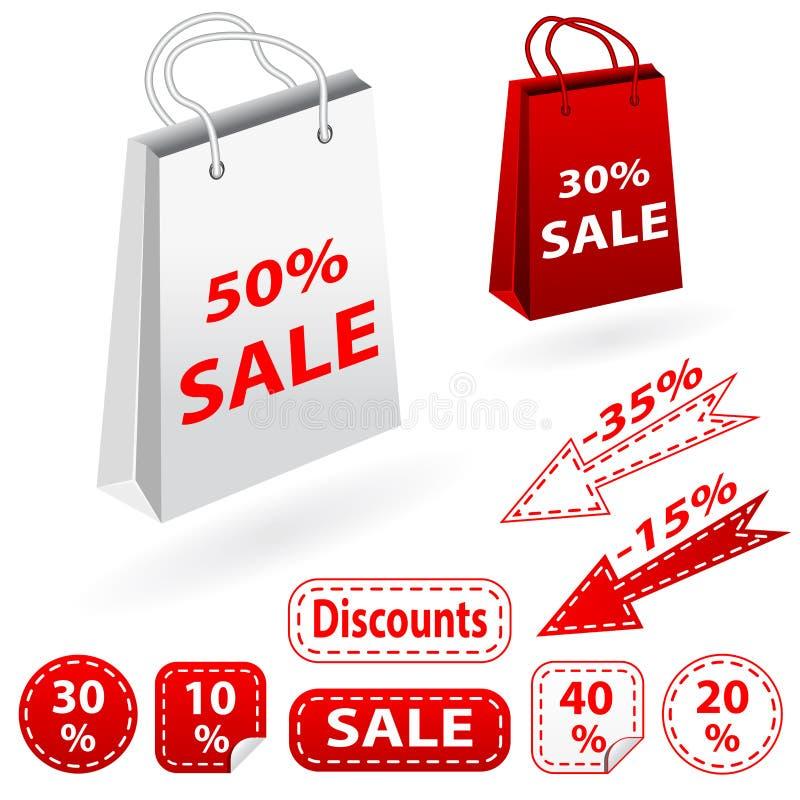 Εμβλήματα πώλησης καθορισμένα και τσάντες. Αγορές. στοκ εικόνα