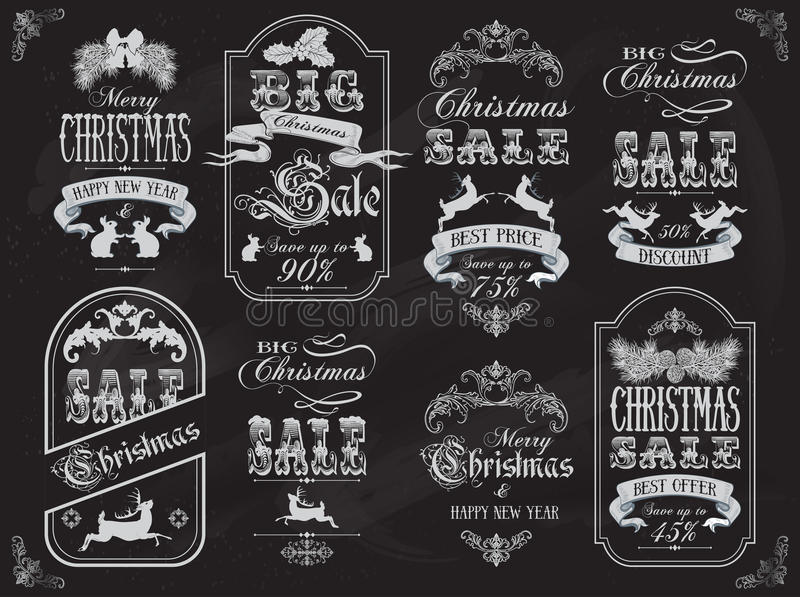 Εμβλήματα πώλησης Χριστουγέννων ελεύθερη απεικόνιση δικαιώματος
