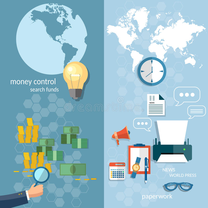 Εμβλήματα συναλλαγών μεταφοράς χρημάτων έννοιας επιχειρησιακών κόσμων διανυσματική απεικόνιση
