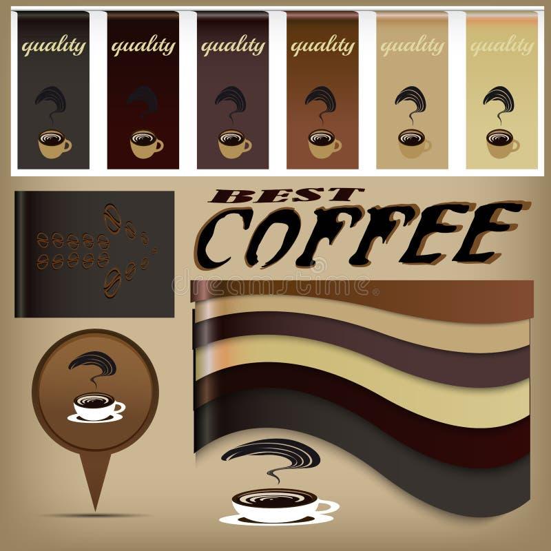 Εμβλήματα σχεδίου καφέ απεικόνιση αποθεμάτων