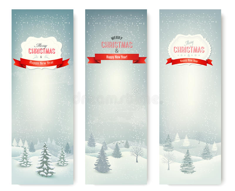 Εμβλήματα χειμερινών τοπίων Χριστουγέννων. διανυσματική απεικόνιση