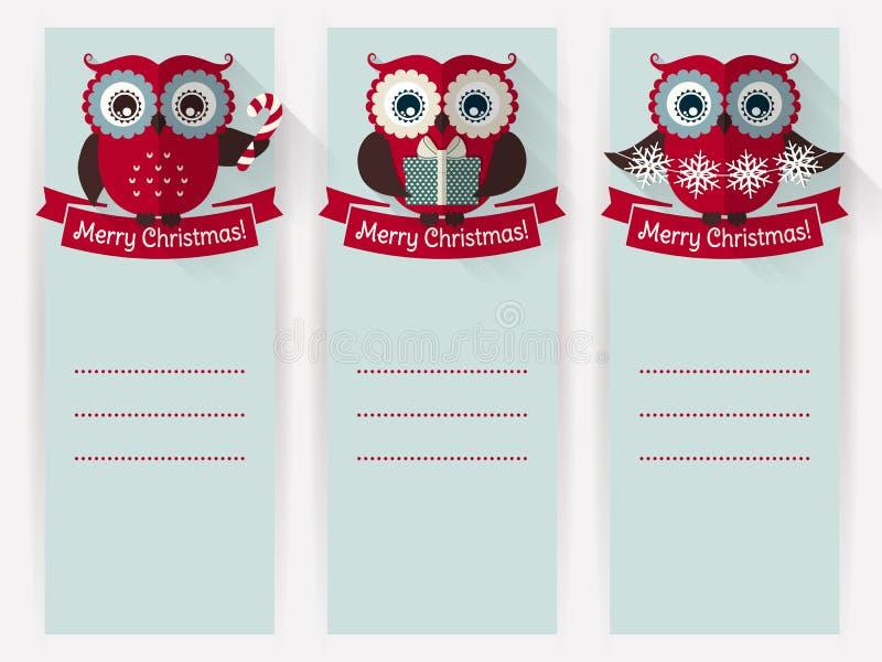 Εμβλήματα Χριστουγέννων με τις κουκουβάγιες και διάστημα για το κείμενο πολικό καθορισμένο διάνυσμα καρδιών κινούμενων σχεδίων απεικόνιση αποθεμάτων