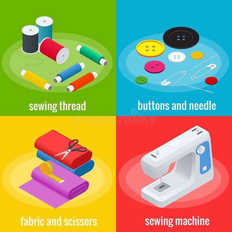 Εμβλήματα χρώματος των αντικειμένων για το ράψιμο, βιοτεχνία Ράβοντας εργαλεία και ράβοντας εξάρτηση διανυσματική απεικόνιση