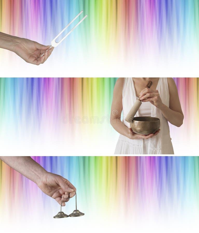 Εμβλήματα Χ 3 ιστοχώρου θεραπείας ήχου και χρώματος στοκ εικόνα με δικαίωμα ελεύθερης χρήσης