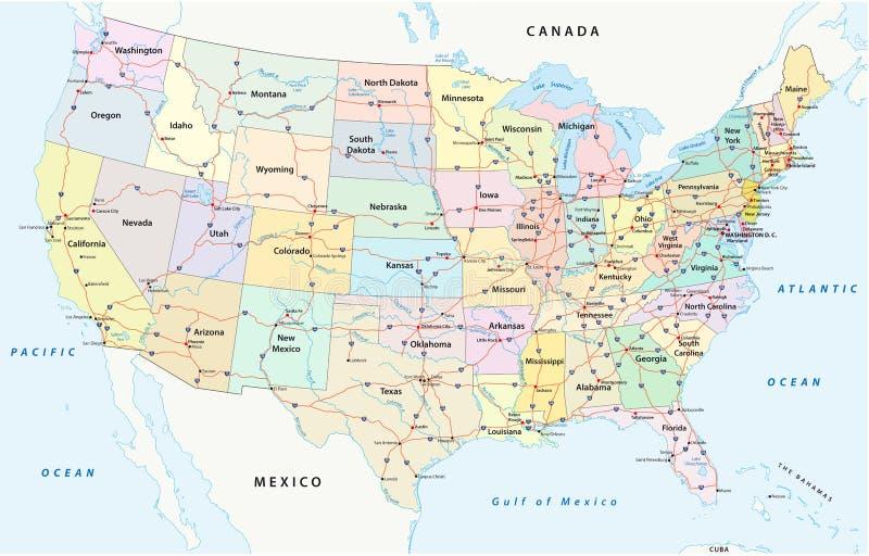Εμείς διοικητικού και πολιτικού διανυσματικός χάρτης διαπολιτειακών αυτοκινητόδρομων, ελεύθερη απεικόνιση δικαιώματος