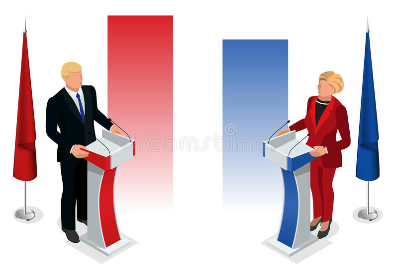 Εμείς εκλογής 2016 infographic αίθουσα συμβάσεων δημοκρατών δημοκρατική Προεδρική επικύρωση συζήτησης κόμματος απεικόνιση αποθεμάτων
