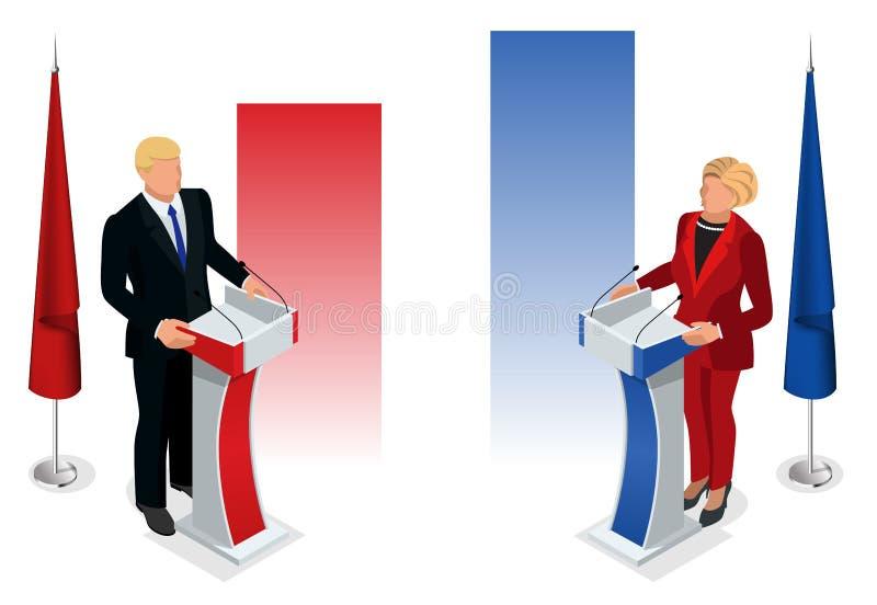 Εμείς εκλογής 2016 infographic αίθουσα συμβάσεων δημοκρατών δημοκρατική Προεδρική επικύρωση συζήτησης κόμματος διανυσματική απεικόνιση