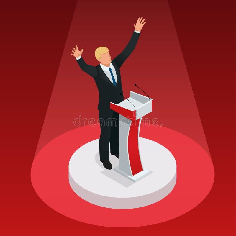 Εμείς εκλογής 2016 infographic αίθουσα συμβάσεων δημοκρατών δημοκρατική Προεδρική επικύρωση συζήτησης κόμματος Ατού GOP διανυσματική απεικόνιση