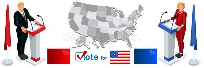 Εμείς εκλογή 2016 καθορισμένη αμερικανική σημαία χαρτών εικονιδίων λιμνών συζήτησης διανυσματική απεικόνιση