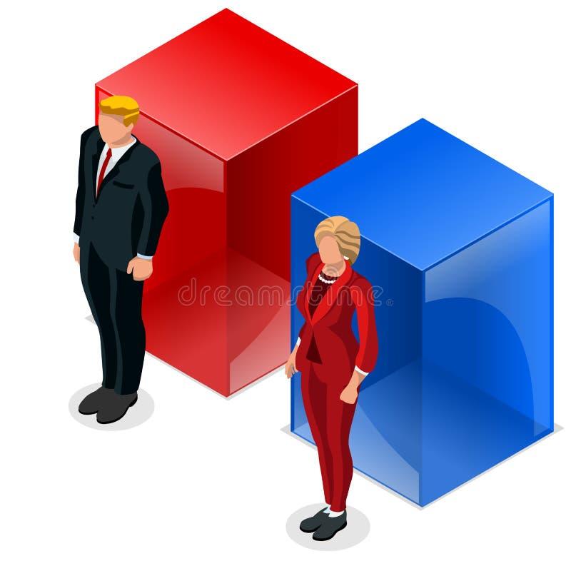 Εμείς εκλογή 2016 καθορισμένος Δημοκρατικός δημοκρατών εικονιδίων λιμνών συζήτησης απεικόνιση αποθεμάτων