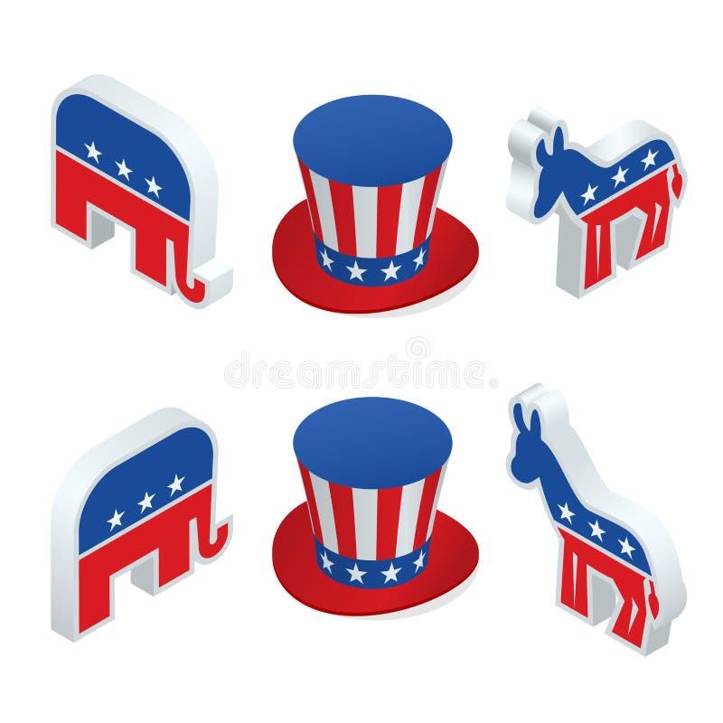 Εμείς εκλογή 2016 infographic Η ψηφιακή διανυσματική αμερικανική εκλογή με ποιο είναι επόμενο, δημοκρατικό ή κόμμα δημοκρατών, ασ απεικόνιση αποθεμάτων