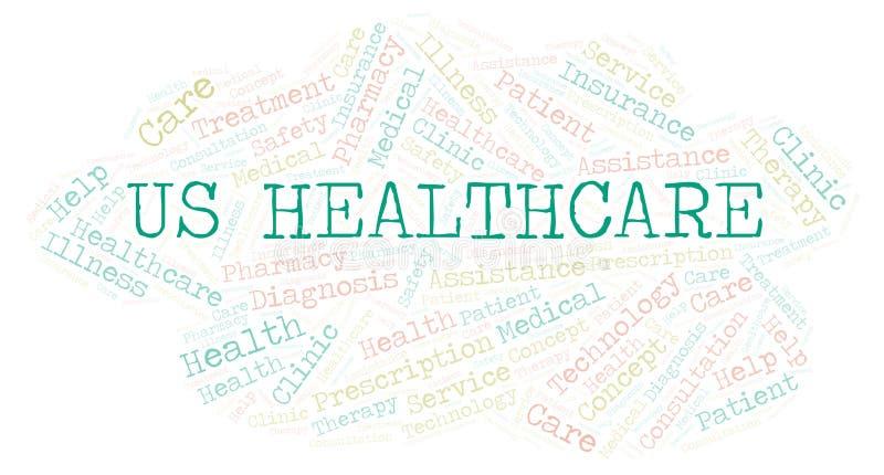Εμείς σύννεφο λέξης υγειονομικής περίθαλψης απεικόνιση αποθεμάτων