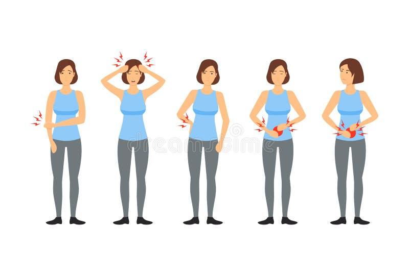 Εμμηνορροϊκός πόνος περιόδου κινούμενων σχεδίων και αφίσα καρτών γυναικών διάνυσμα απεικόνιση αποθεμάτων