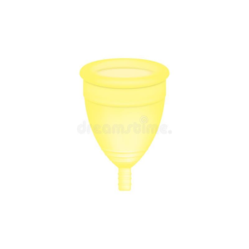 Εμμηνορροϊκός τρισδιάστατος ρεαλιστικός φλυτζανιών θηλυκή υγιεινή Κίτρινο εμμηνορροϊκό φλυτζάνι χρώματος Προστασία για τη γυναίκα απεικόνιση αποθεμάτων