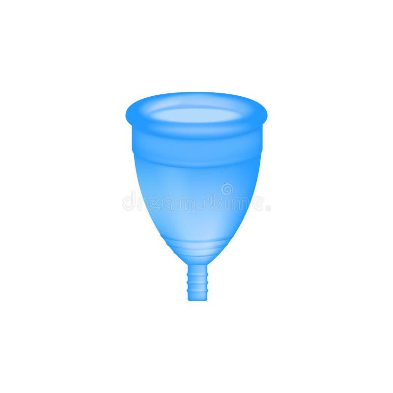 Εμμηνορροϊκός τρισδιάστατος ρεαλιστικός φλυτζανιών θηλυκή υγιεινή Μπλε εμμηνορροϊκό φλυτζάνι χρώματος Προστασία για τη γυναίκα στ ελεύθερη απεικόνιση δικαιώματος