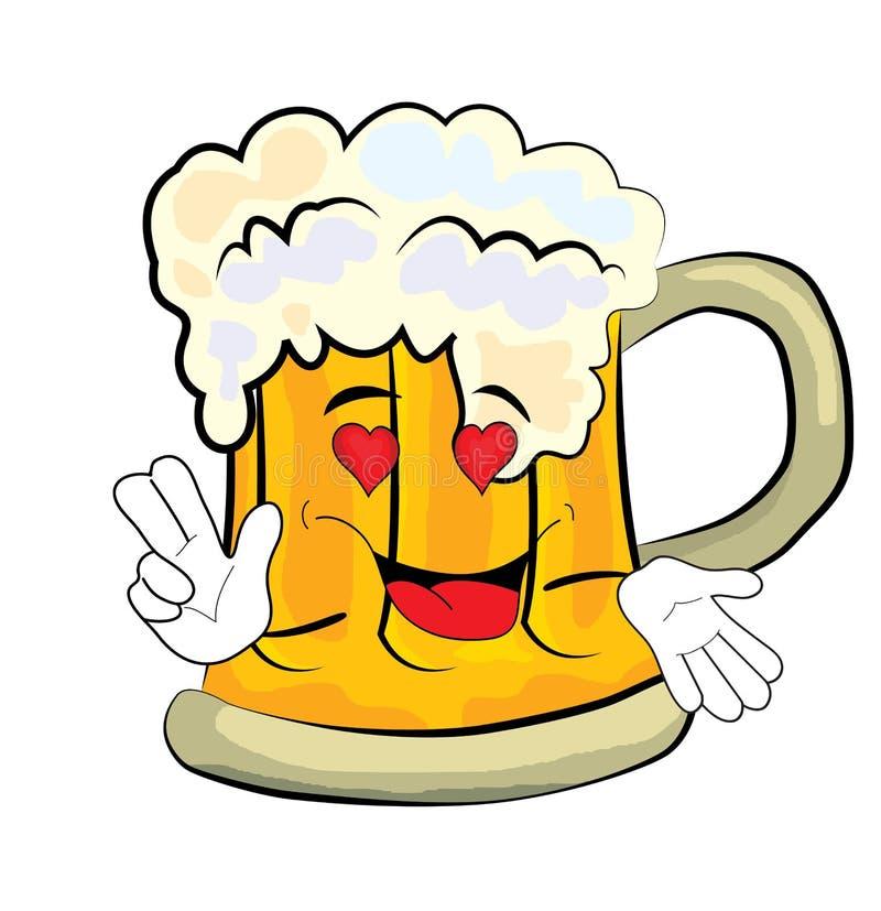 Εμπαθή κινούμενα σχέδια μπύρας διανυσματική απεικόνιση