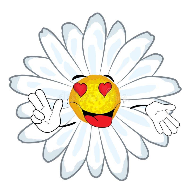 Εμπαθή chamomile κινούμενα σχέδια λουλουδιών διανυσματική απεικόνιση