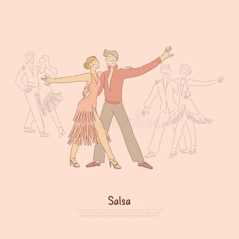 Εμπαθείς άνδρας και γυναίκα που εκτελούν το salsa, νέοι επαγγελματικοί εκτελεστές, χορεύοντας σχολικό έμβλημα απεικόνιση αποθεμάτων