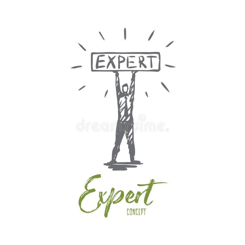 Εμπειρογνώμονας, επιχείρηση, επαγγελματίας, συμβουλές, έννοια προσώπων Συρμένο χέρι απομονωμένο διάνυσμα διανυσματική απεικόνιση