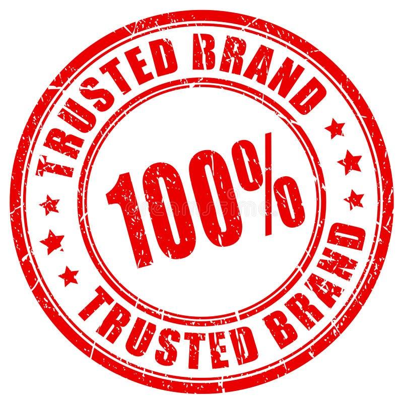 100 εμπιστευμένη τοις εκατό σφραγίδα εμπορικών σημάτων ελεύθερη απεικόνιση δικαιώματος