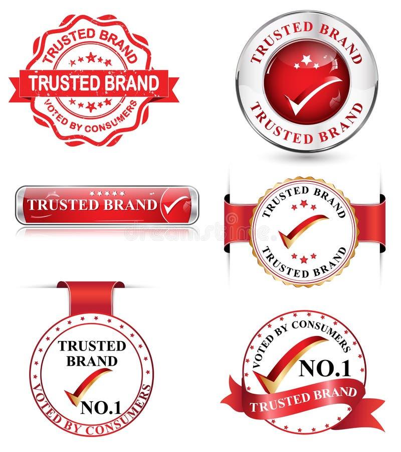 Εμπιστευμένο σύνολο εμπορικών σημάτων διανυσματική απεικόνιση