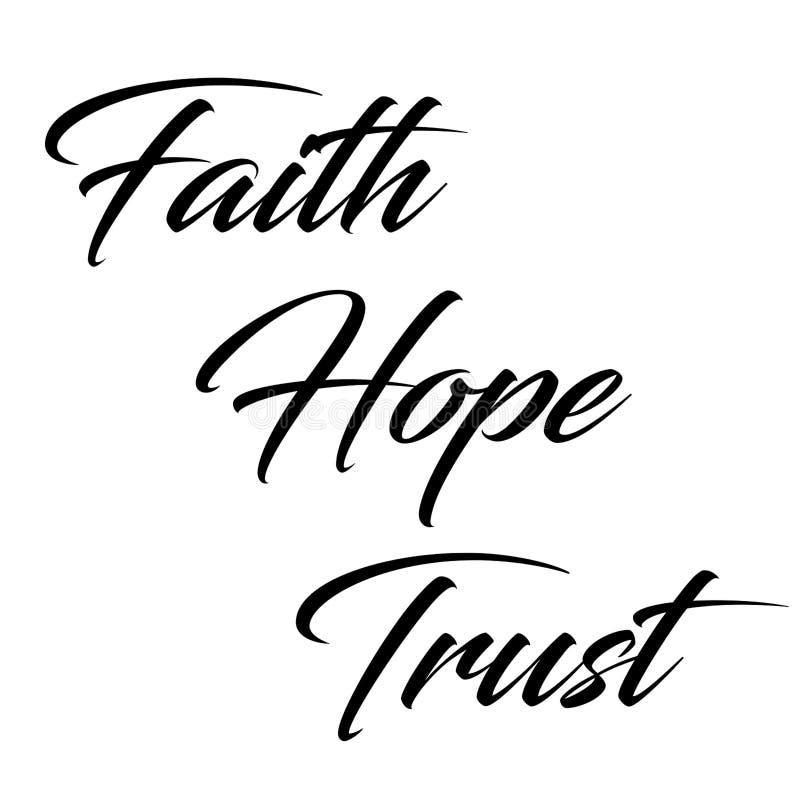 Εμπνευσμένο απόσπασμα: Πίστη, ελπίδα και εμπιστοσύνη διανυσματική απεικόνιση
