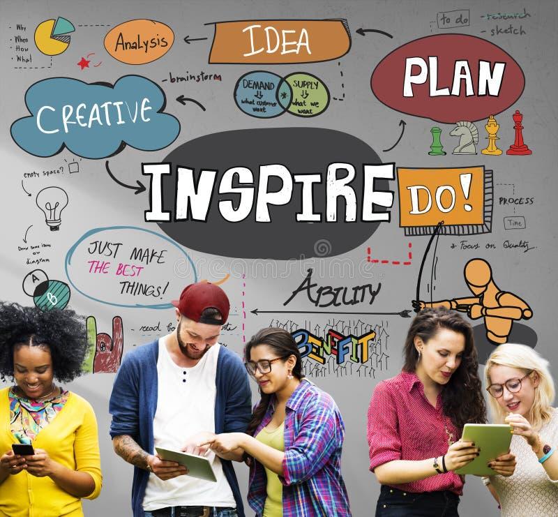 Εμπνεύστε την έμπνευση δημιουργική παρακινεί την έννοια φαντασίας στοκ φωτογραφία