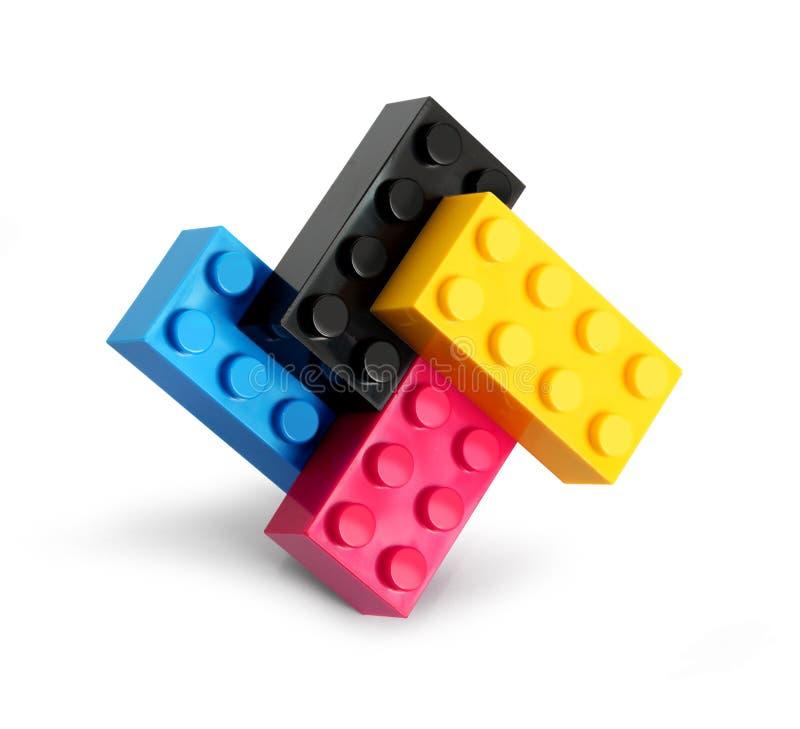 εμποδίζει cmyk το lego χρώματος στοκ φωτογραφίες
