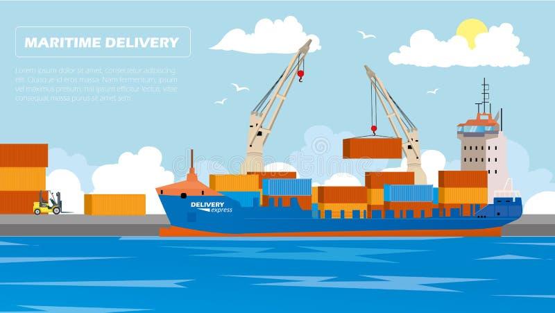 Εμπορευματοκιβώτια φόρτωσης σκαφών θάλασσας φορτίου μεταφορών από το λιμενικό γερανό στη διανυσματική απεικόνιση στέλνοντας λιμέν ελεύθερη απεικόνιση δικαιώματος