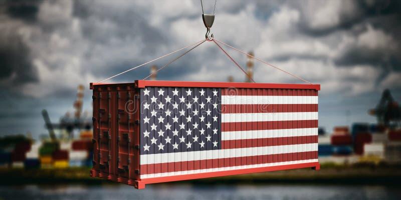 Εμπορευματοκιβώτιο ΑΜΕΡΙΚΑΝΙΚΩΝ σημαιών στο νεφελώδες υπόβαθρο ουρανού r ελεύθερη απεικόνιση δικαιώματος