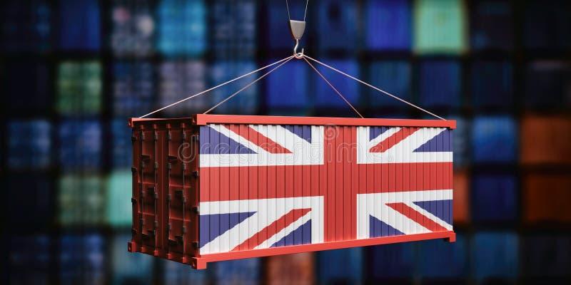Εμπορευματοκιβώτιο βρετανικών σημαιών στο συσσωρευμένο υπόβαθρο εμπορευματοκιβωτίων r διανυσματική απεικόνιση