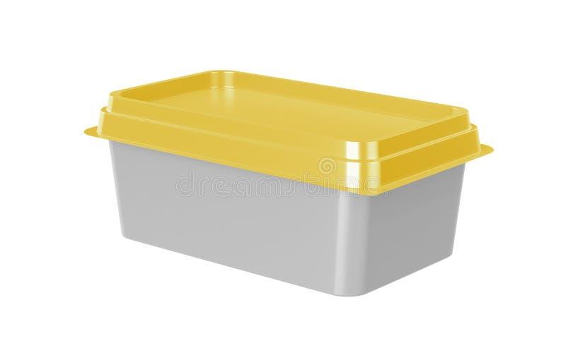 Εμπορευματοκιβώτιο για το βουτύρου, λειωμένο τυρί ή μαργαρίνη που διαδίδεται Απόψεις προοπτικής που απομονώνονται στο άσπρο υπόβα απεικόνιση αποθεμάτων