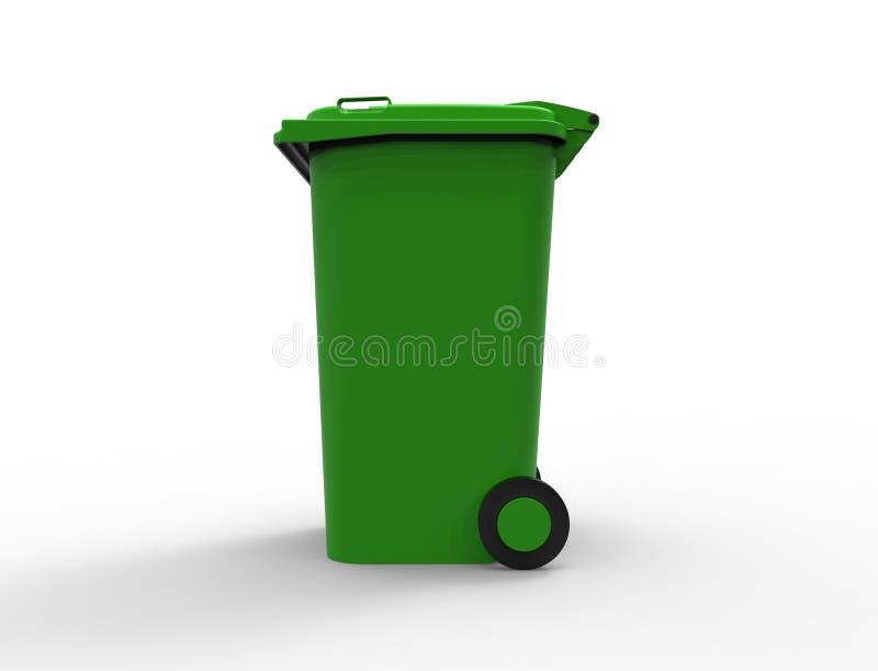 Εμπορευματοκιβώτιο δοχείων αποβλήτων καταναλωτικών απορριμμάτων που απομονώνεται απεικόνιση αποθεμάτων