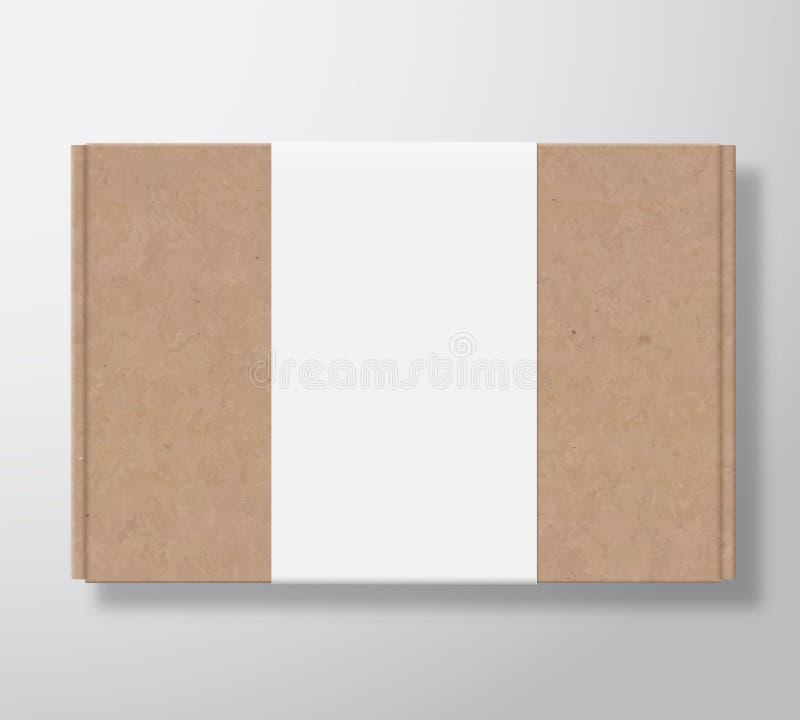 Εμπορευματοκιβώτιο κουτιών από χαρτόνι τεχνών με το σαφές άσπρο πρότυπο ετικετών Ρεαλιστική χλεύη συσκευασίας σύστασης χαρτοκιβωτ απεικόνιση αποθεμάτων