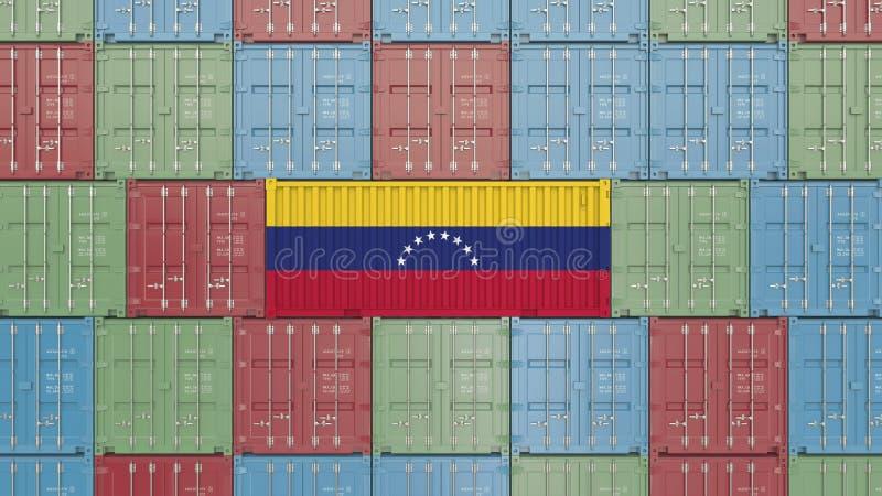 Εμπορευματοκιβώτιο με τη σημαία της Βενεζουέλας Η της Βενεζουέλας εισαγωγή ή η εξαγωγή αφορούσε την τρισδιάστατη απόδοση απεικόνιση αποθεμάτων
