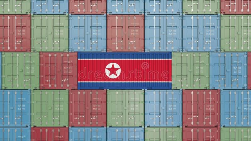 Εμπορευματοκιβώτιο με τη σημαία της Βόρεια Κορέας Η κορεατική εισαγωγή ή η εξαγωγή αφορούσε την τρισδιάστατη απόδοση απεικόνιση αποθεμάτων